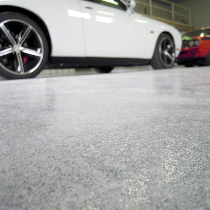 Polished Quartz Flooring in an auto body shop